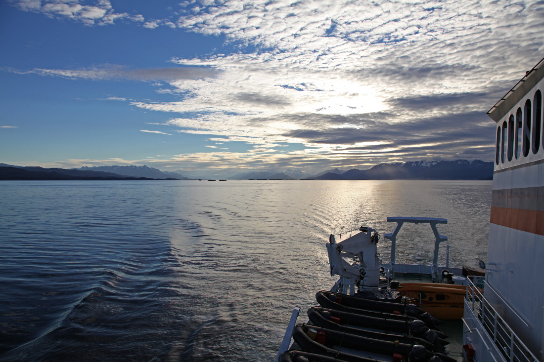 Beagle Channel eastbound at sunset on 16 III 2013
