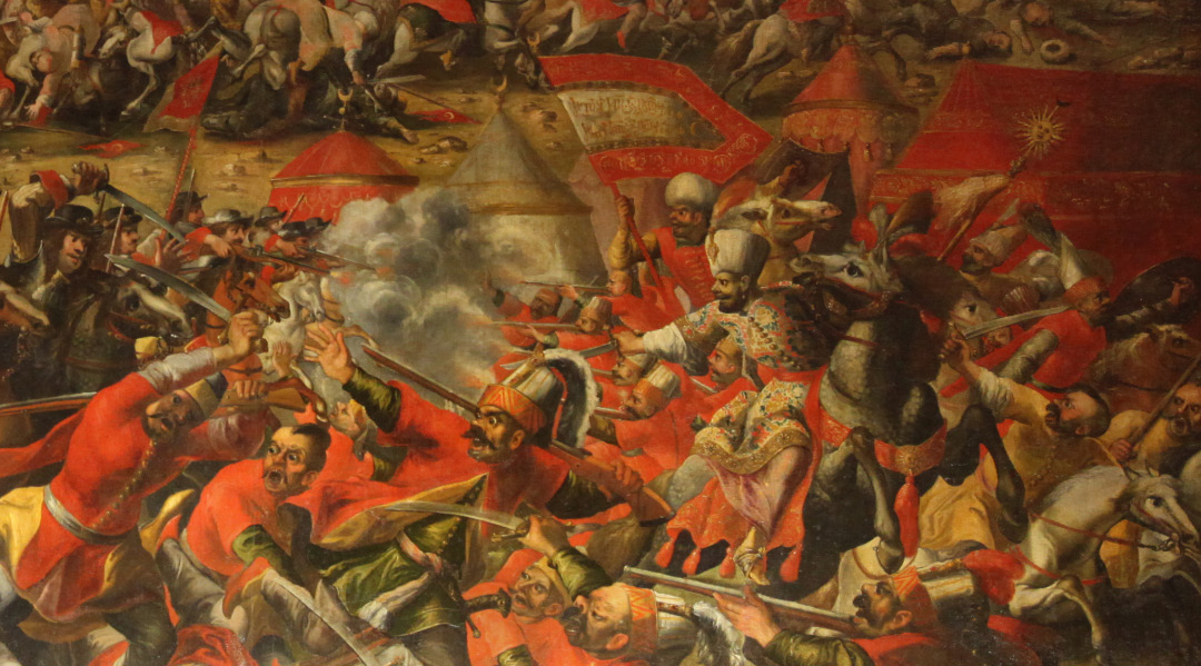 Bitwa pod Wiedniem - Schlacht am Kahlenberg - Battle of Vienna, detail from unsigned painting in Heeresgeschichtliches Museum in Vienna