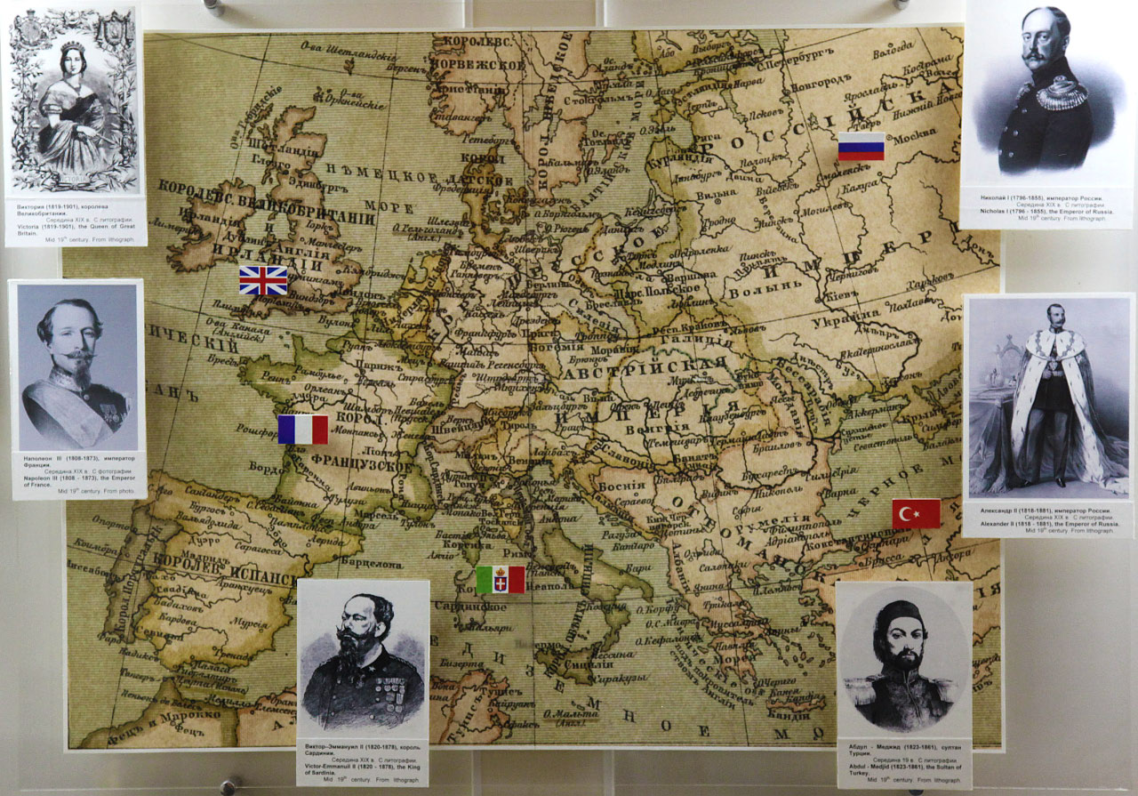 map of opposing sides in crimean war