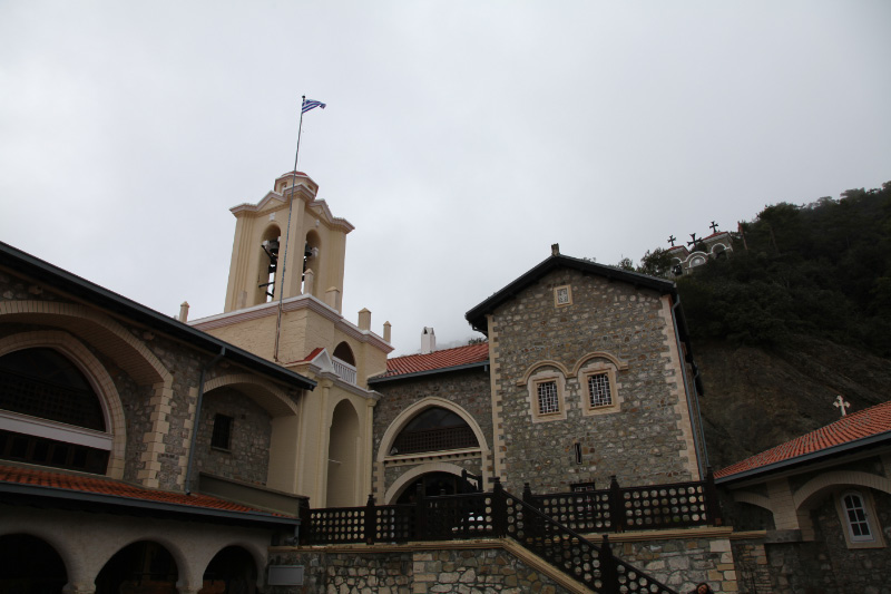 Kykkos Monastery on Cyprus with Greek flag