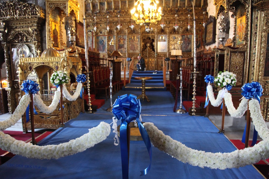 Marriage preparations in the Church of Saint Lazarus in Larnaca on Cyprus