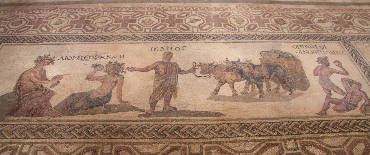 Icarios Dionysos Acme and the First Wine Drinkers as depicted on floor mosaic in Dionysos Palace in Paphos Cyprus
