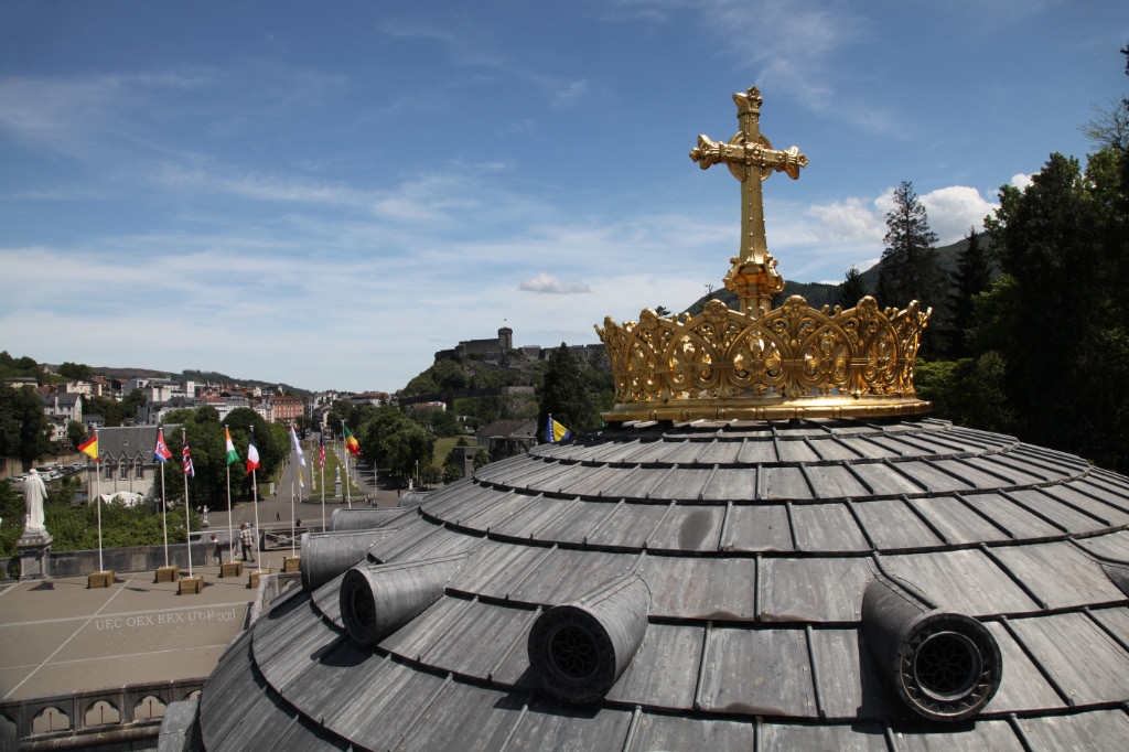 Cross and Crown on Basilica Lourdes