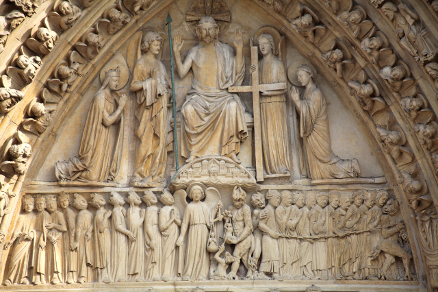 Christ's Judgement depicted on facade of Notre Dame in Paris