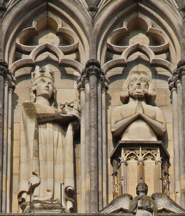 From Facade of Cathedral of Notre Dame of Reims first Clodide then Clovis