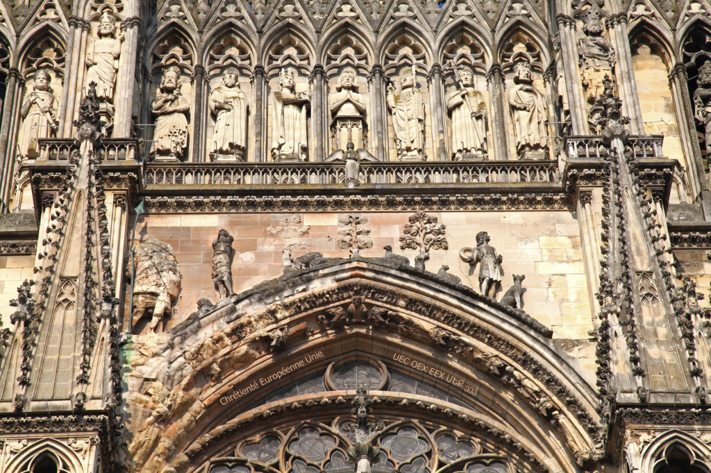detail from the facade of the Cathedral of Notre Dame in Reims