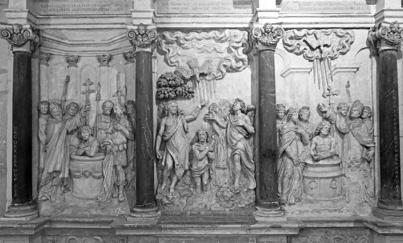 the baptisms of Contantine, Christ and Clovis, depicted in base relief in the Basilica of Saint Remi in Reims