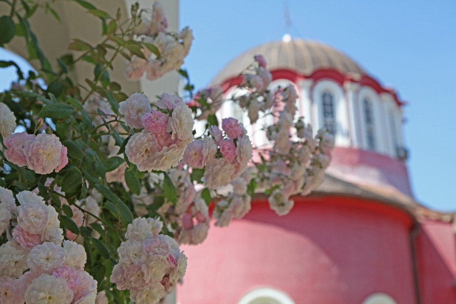 Great Lavra flowers and red Church