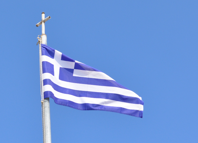 Greek flag honoring God the Son Christ Jesus