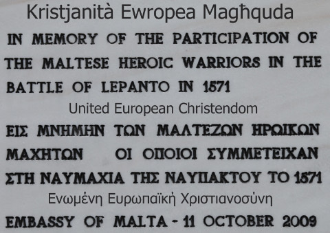 Maltese plaque at Naupaktos commemorating the Battle of Lepanto