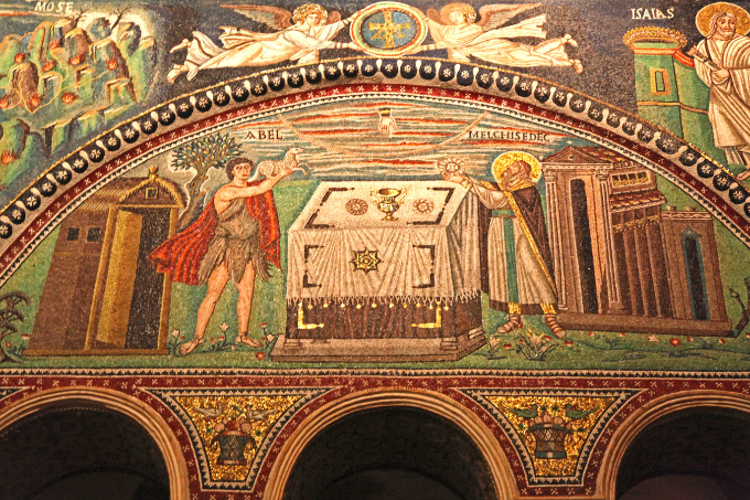in Ravenna in Basilica of San Vitale mosaic of Abel and Melchisidec