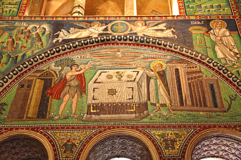 in Ravenna in Basilica of San Vitale mosaic of Abel and Melchisidec and Mose and Isaias