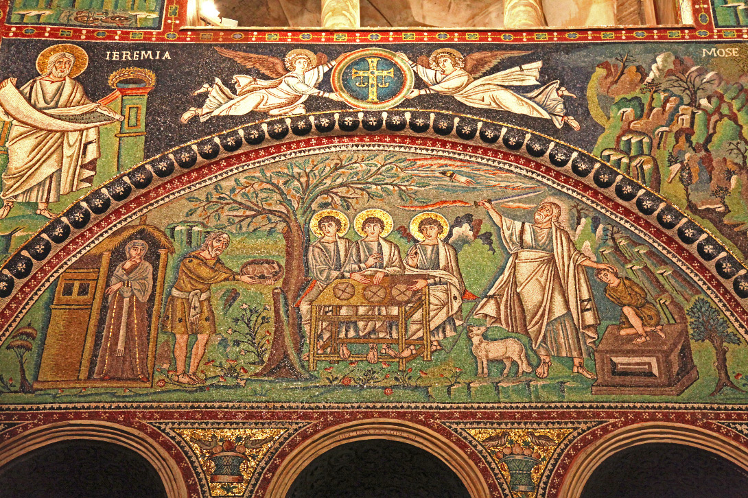 Basilica of San Vitale mosaic on the north lunette of the choir of the basilica depicting Abraham at Mamre bringing an offering to the three angels