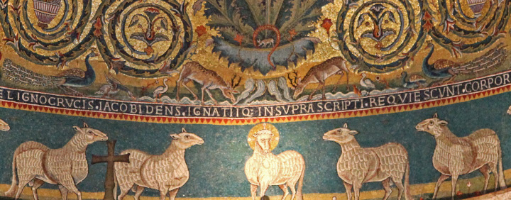 detail from the 12th century apse mosaic in the Basilica of Saint Clement in Rome