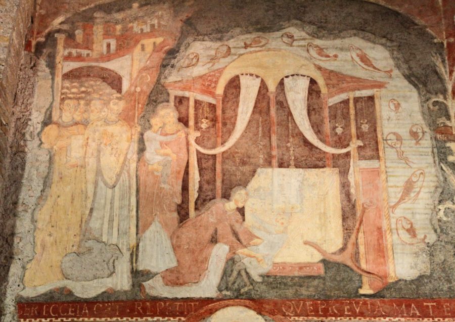 fresco of underwater crypt of Pope Saint Clement
