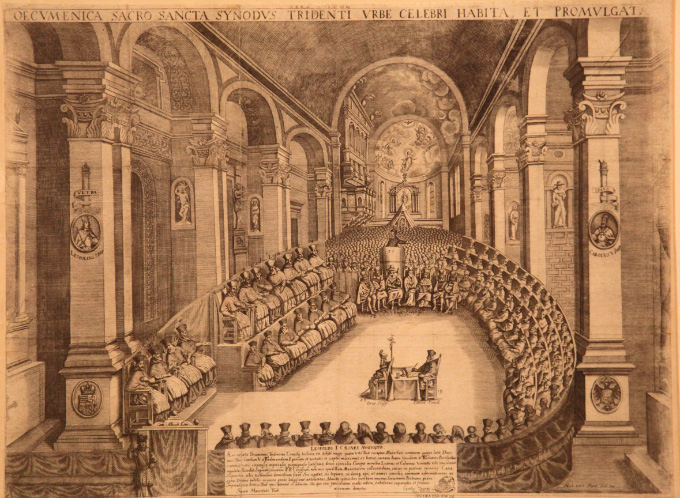 Lithograph depicting the Council of Trent