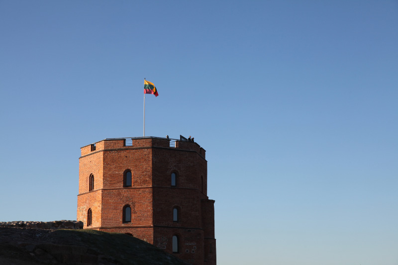 Gedimino pilies bokštas – Gediminas' Tower (completed 1409) atop the Upper Castle complex (built 9th through 15th centuries) in Vilnius