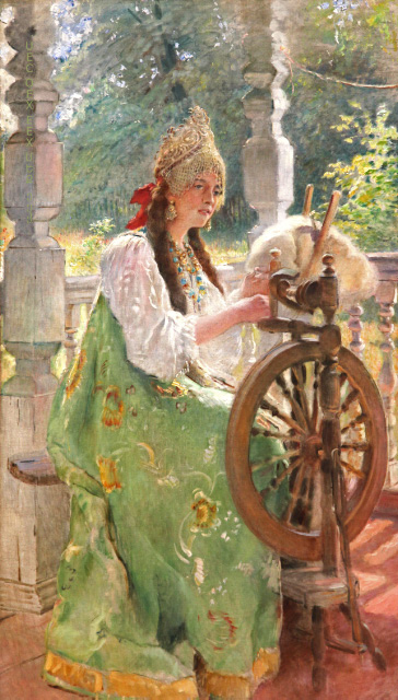 Girl and Spinning Wheel Makovskii Tretiakov