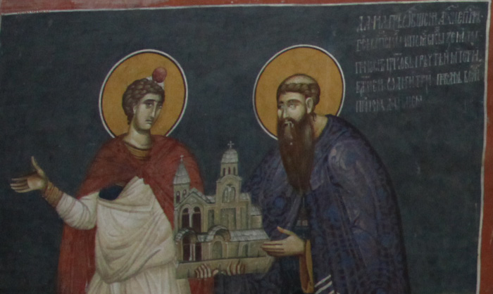 1330s fresco icon near portal of Archbishop Danilo II with Prophet Daniel