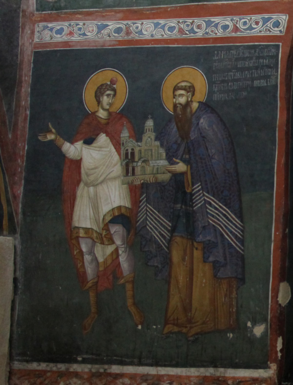 1330s fresco of Archbishop Danilo II with Prophet Daniel