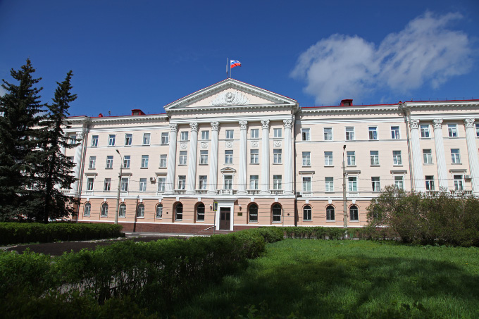 government building of Soviet neoclassical design