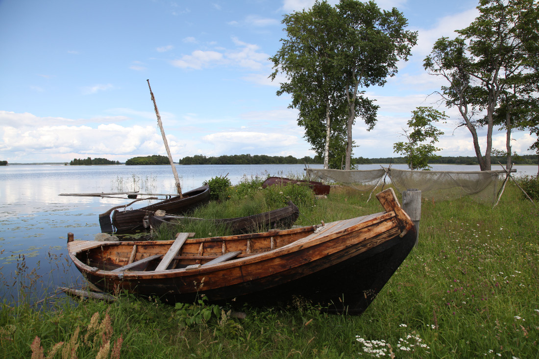 Fishing boats on Кижи–Kizhi and on Lake Onega