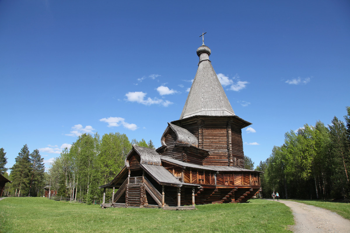Church dedicated to Saint George built 1672 Anno Domini from Vershini Village in Vologda Province transplanted to Malie Koreli