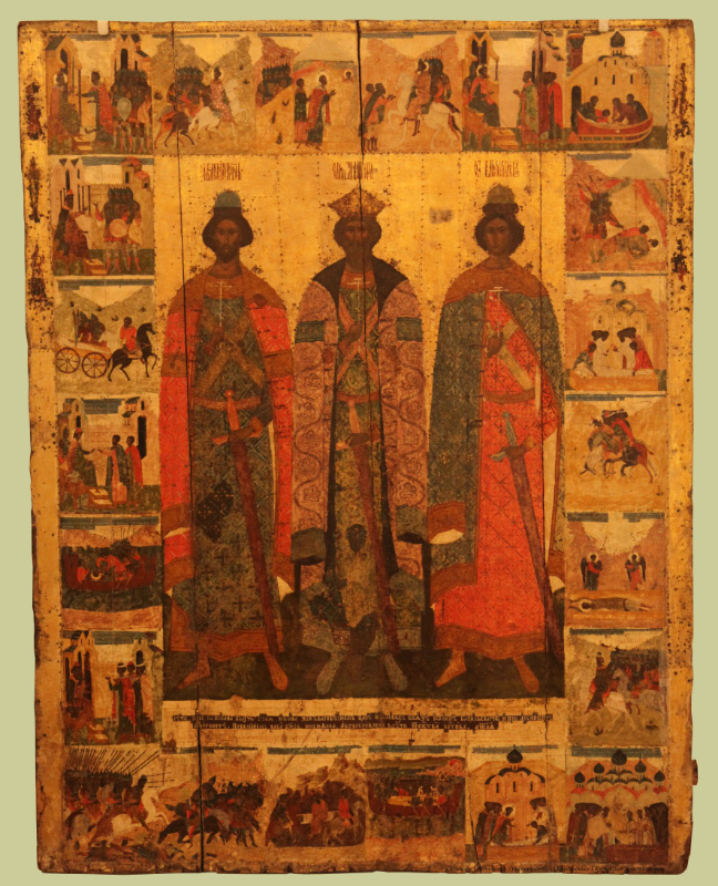 XVI century icon in Art and Historical Museum of Pskov depicting Saints Volodymyr Boris and Gleb