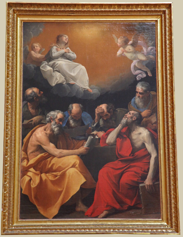 Painting in the Hermitage in Saint Petersburg in Russia by Guido Reni depicting Fathers of the Church discussing the Dogma of the Immaculate Conception.