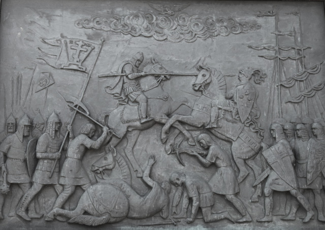 Panel depicting Battle on the Ice on Lake Peipus