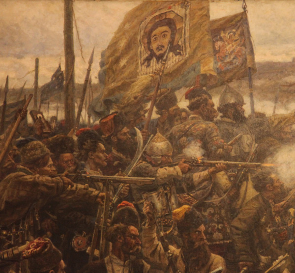 onquest of Siberia by Yermak by Vasily Ivanovich Surikov Christian soldiers and flag