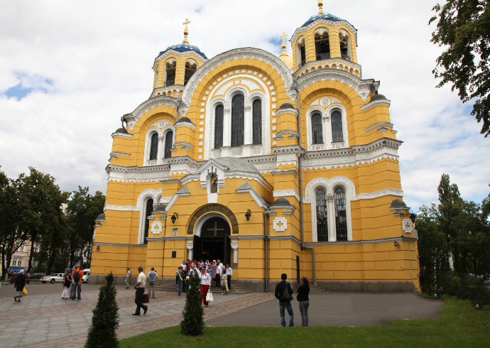 Cathedral of Saint Volodymir in Kyiv exterior with wedding