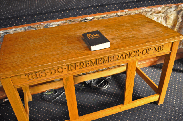 table in Montreat Presbyterian Church