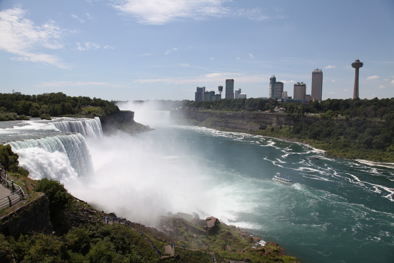 American Falls tiny Luna Island Bridal Veil Falls Goat Island and then the Horseshoe Falls