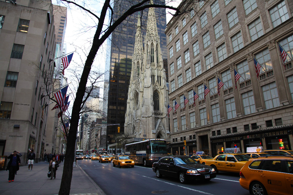 Saint Patrick's Cathedral on Fith Avene in central Manhattan, New York