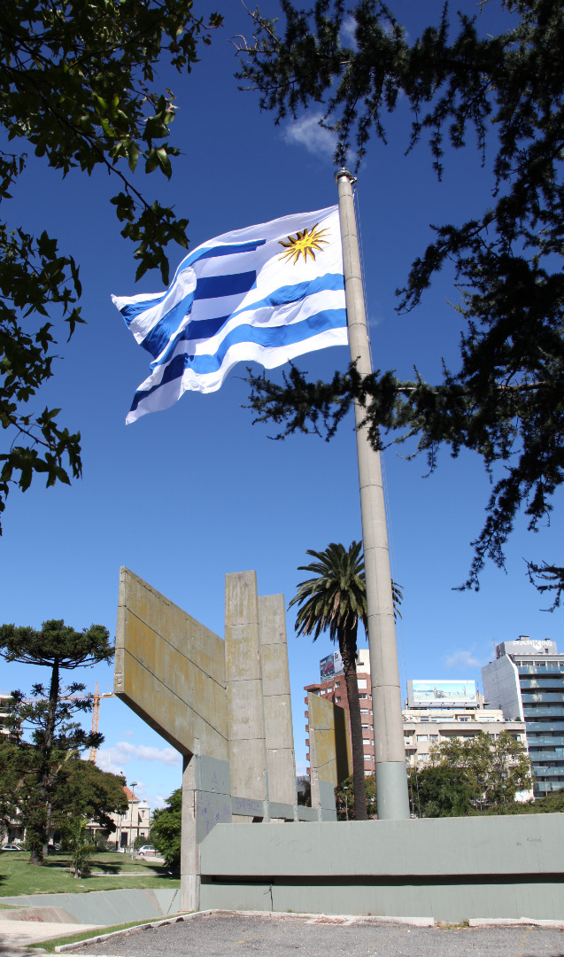 flag of uruguay in montevideo