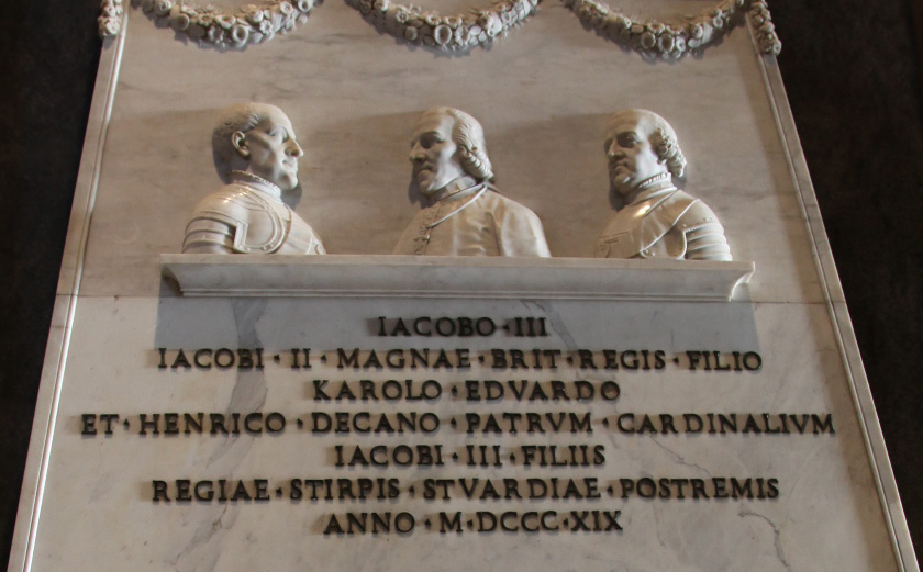 Monument by Antonio Canova to the Royal Stuarts in Saint Peter's Basilica commemorating the last three members of the Royal House of Stuart: James Francis Edward Stuart, his elder son Charles Edward Stuart, and his younger son, Henry Benedict Stuart, Cardinal of the Catholic Church and Dean of the College of Cardinals. The Jacobites recognised these three princes as kings of England, Scotland and Ireland.