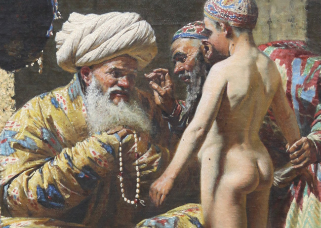 V.V. Vereshchagin depicting the dispicable Islamic pederasty in Sale of a Slave Child
