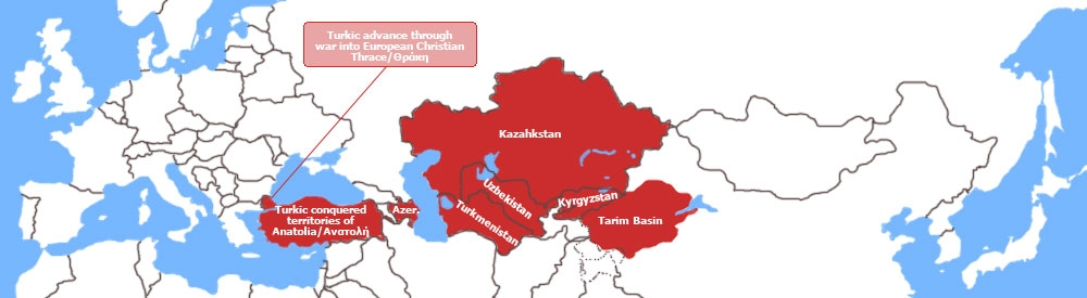 the Turkic States pictured within Eurasia