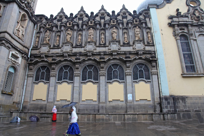right side of Holy Trinity Cathedral in Addis Ababa