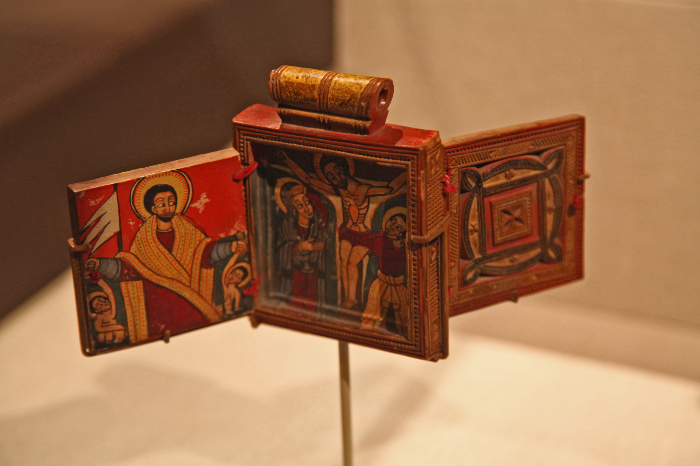 XVIII century personal devotional diptych from the Ethiopian central north highlands