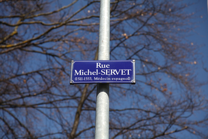 signpost for Rue Michel Servet in Geneva