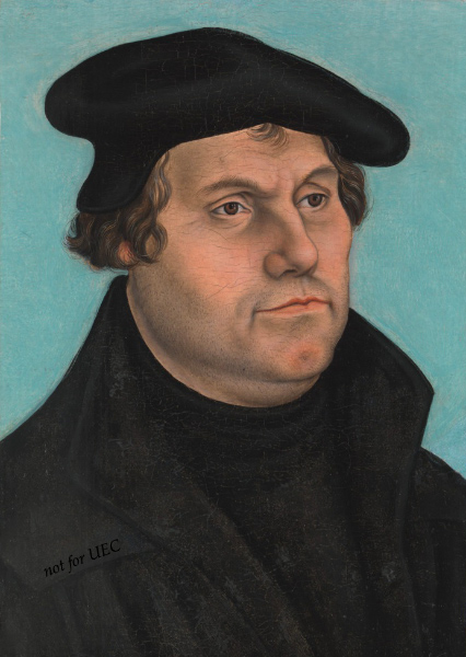 Martin Luther portrait of circa 1532 in the Metropolitan Museum of Art by Lucas Cranach der Ältere (the Elder) (c. 1472–1553)
